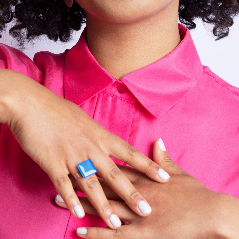 alexascha glas ring 15mm azurblau