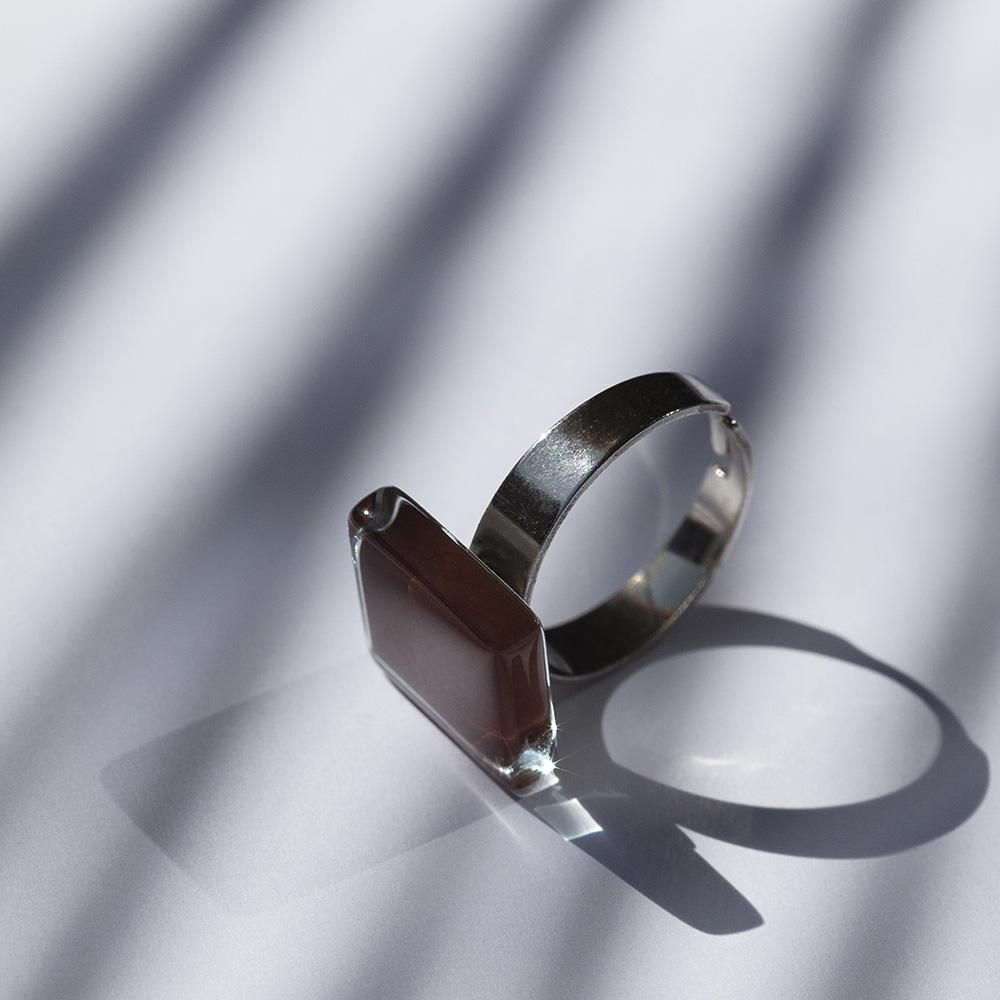 alexascha glas ring silber schokobraun 2