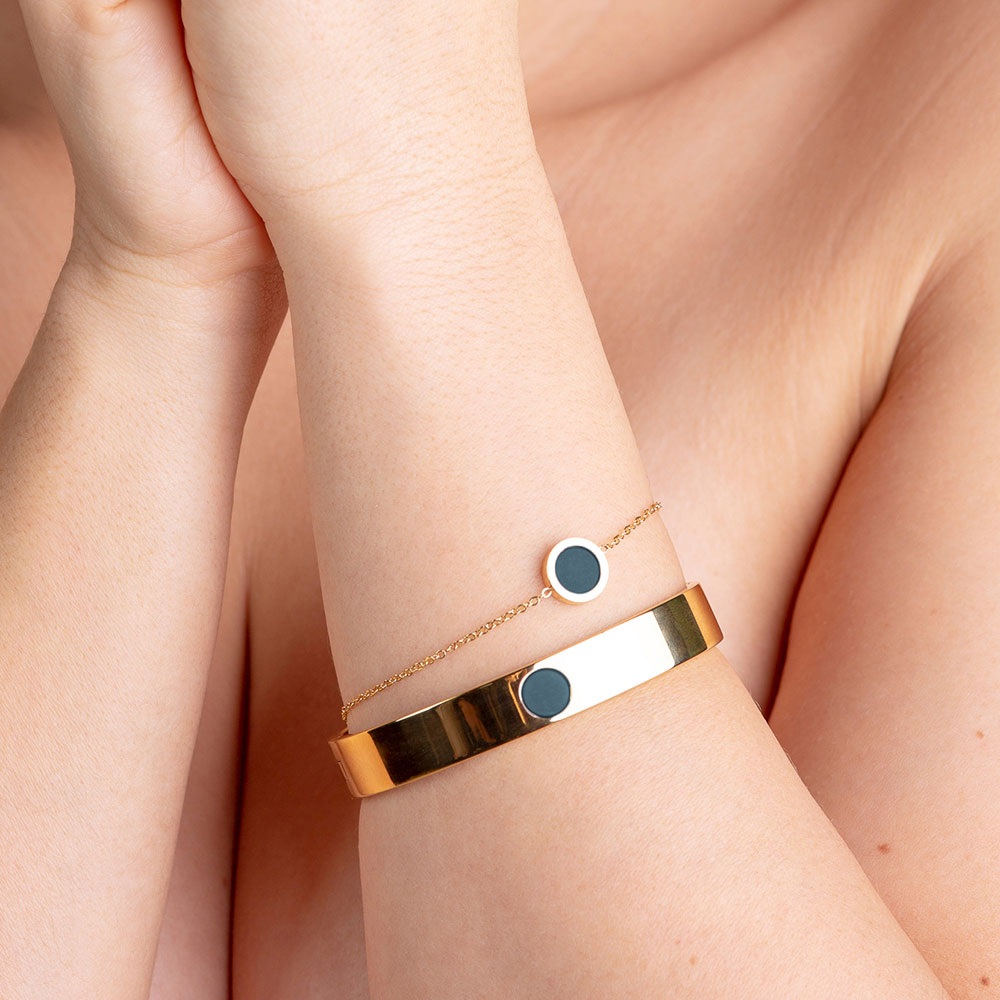 alexascha armband edelstahl gold petrol