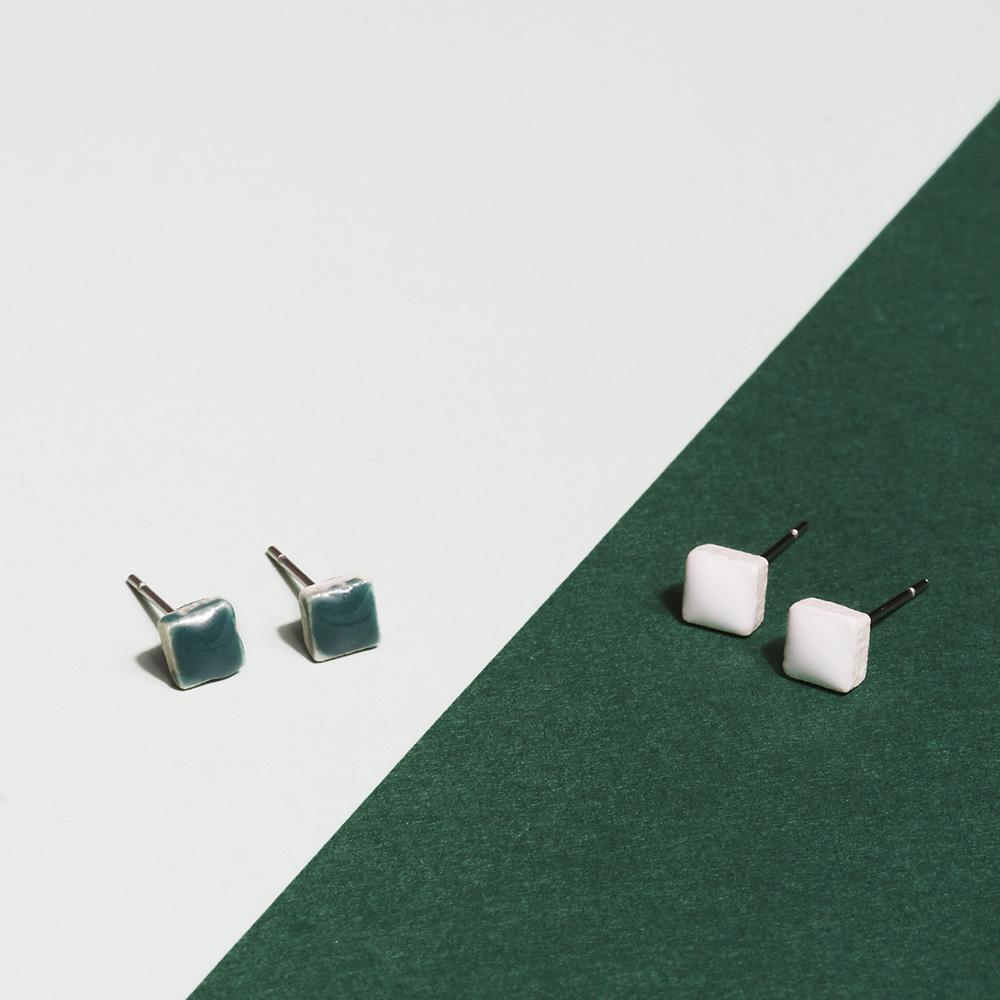 alexascha mini ohrstecker silber malachitgruen schneeweiss